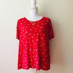 LOFT | Red Floral Linen Tee